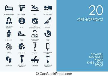 Un conjunto de iconos ortopédicos de la biblioteca azul