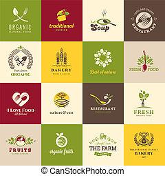 Un conjunto de iconos para comida y bebida