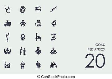 Un conjunto de iconos pediátricos