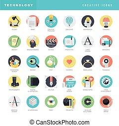 Un conjunto de iconos planos
