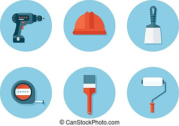 Un conjunto de iconos planos con herramientas de construcción