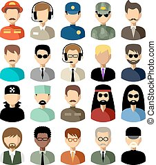 Un conjunto de iconos planos con hombres. Ilustración de vectores