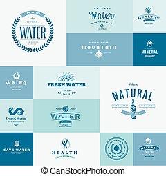 Un conjunto de iconos planos para el agua