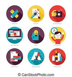 Un conjunto de iconos planos para el diseño