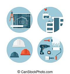 Un conjunto de iconos planos sobre construcción e ingeniería