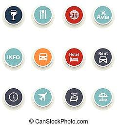 Un conjunto de iconos redondos. Viajar