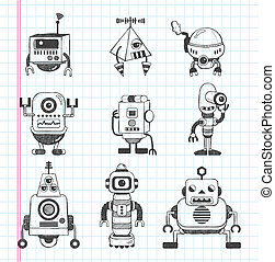 Un conjunto de iconos robot