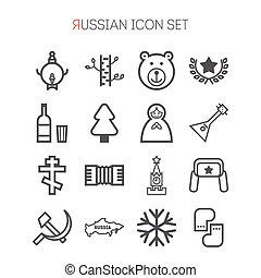 Un conjunto de iconos rusos para diseño web, sitios, solicitudes, juegos, pegatinas y gráficos de información