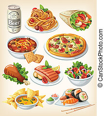 Un conjunto de iconos tradicionales de comida.