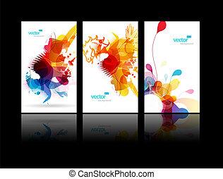 Un conjunto de ilustraciones coloridas abstractas.