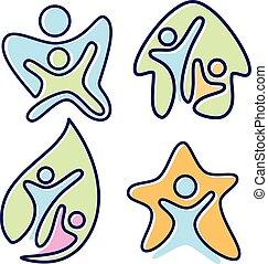 Un conjunto de imágenes coloridas vector de icono personas en diferentes diseños