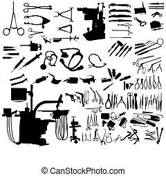Un conjunto de instrumentos médicos