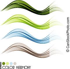 Un conjunto de líneas curvas de color