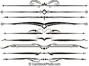 Un conjunto de líneas de reglas ornamentales vectorizadas
