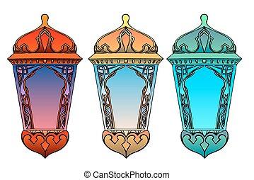 Un conjunto de linternas árabes coloridas.