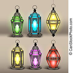 Un conjunto de linternas árabes o islámicas