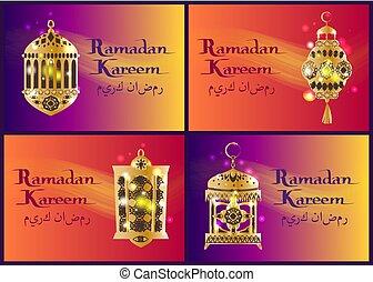 Un conjunto de linternas de ramadan kareem, caligrafía árabe