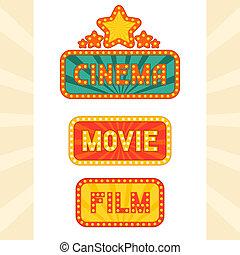 Un conjunto de luces de neón retro cinematográficas.