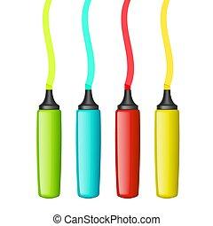 Un conjunto de marcadores multicolores.