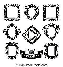 Un conjunto de marcos antiguos barrocos