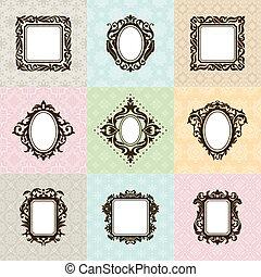 Un conjunto de marcos antiguos ilustración vectorial