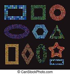 Un conjunto de marcos de cerámica mosaicos coloridos