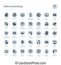 Un conjunto de medios y iconos publicitarios