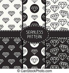 Un conjunto de monocromo hipster de moda geometri sin costura de diamante. Colección de papel para álbum de recortes. Antecedentes de vector. Tiling. Textura gráfica estilizada para su diseño, papel tapiz, patrón llena.