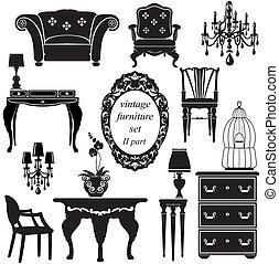 Un conjunto de muebles antiguos, siluetas negras aisladas