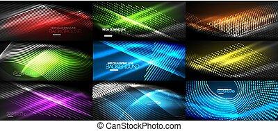Un conjunto de neón suave ondas de fondo abstracto digital digital