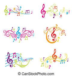 Un conjunto de notas musicales coloridas ilustraciones en vector
