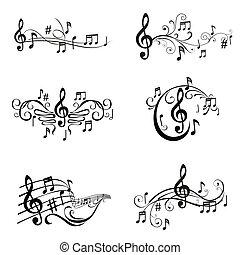 Un conjunto de notas musicales ilustradas en vector