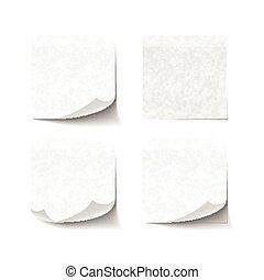 Un conjunto de notas pegajosas aisladas en el fondo blanco
