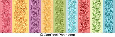 Un conjunto de nueve flores coloridas bordes sin costura vertical