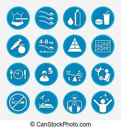 Un conjunto de obesidad y concepto de salud, botones del círculo azul