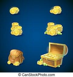 Un conjunto de objetos, monedas, pecho, esmeraldas, bolsa