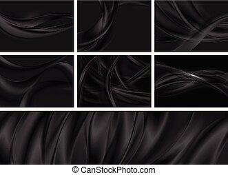 Un conjunto de olas negras abstractas y suaves