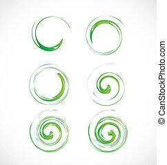 Un conjunto de olas verdes arremolinadas