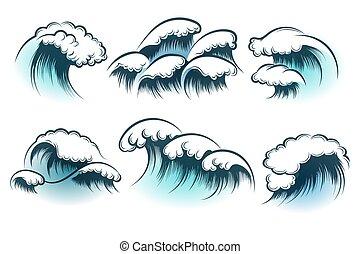Un conjunto de ondas oceánicas dibujadas a mano