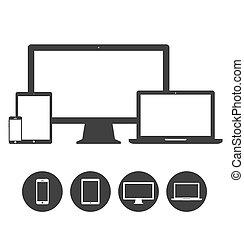 Un conjunto de pantalla, portátil, tablet y teléfonos móviles, dispositivos electrónicos de iconos