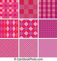 Un conjunto de patrones sin manchas en color rosa para las chicas