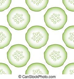 Un conjunto de pepinos verdes frescos sin costura