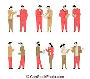 Un conjunto de personajes de dibujos animados modernos de gente chata, estilo colorido. Gente colorida en la conversación. Gente de negocios.