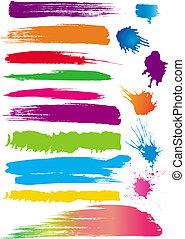Un conjunto de pinceles de color