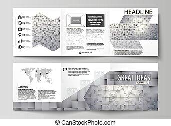 Un conjunto de plantillas de negocios para los folletos de diseño cuadriculado. Cubierta de cuero, diseño abstracto, vector fácil de editar. Patrón hecho de cuadrados, fondo gris en estilo geométrico. Simple textura.