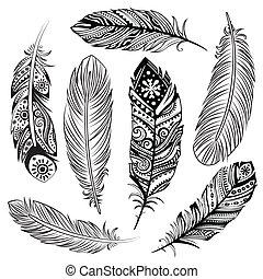 Un conjunto de plumas étnicas