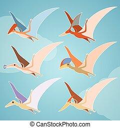 Un conjunto de pterosaurios