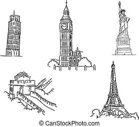 Un conjunto de puntos de referencia mundiales famosos