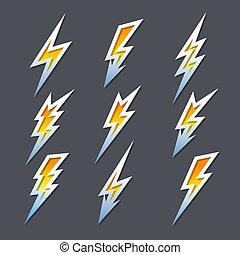 Un conjunto de rayos Zigzag o iconos de electricidad