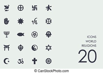 Un conjunto de religiones mundiales iconos